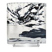 Mountain Lake In Black And White Shower Curtain