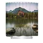 Mountain Lake Under Peaks Shower Curtain