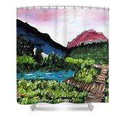 Mountain Lake Walk Shower Curtain