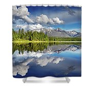 Mountain Lake With Reflection Shower Curtain