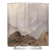 Mountain Landscape In Tirol With Chamois, Johannes Tavenraat, C. 1858 Shower Curtain