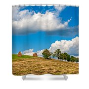 Mountain Landscape With Haystacks And Trees On Top Of Hill Shower Curtain