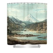 Mountain Landscape With Indians Shower Curtain