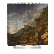 Mountain Landscape With River And Wagon Shower Curtain