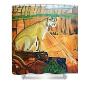 Mountain Lion In Thought Shower Curtain