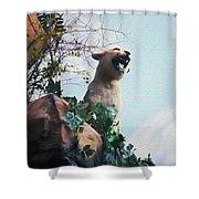 Mountain Lion - Paint Effect Shower Curtain