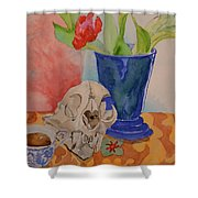 Mountain Lion Skull Tea And Tulips Shower Curtain