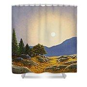 Mountain Meadow In Moonlight Shower Curtain