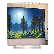Mountain Moonglow Mural Winner Of The 2005 Coba Peoples Choice Award  Shower Curtain