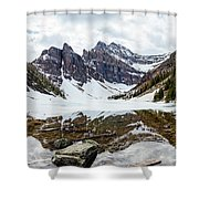 Mountain Picture Lake Agnes Shower Curtain