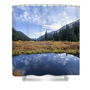 Mountain Pond And Sky Shower Curtain