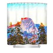 Mountain Range In Yosemite National Park Shower Curtain