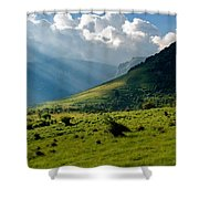 Mountain Rays Shower Curtain by Evgeni Dinev