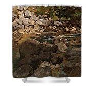 Mountain Stream With Boulders Shower Curtain