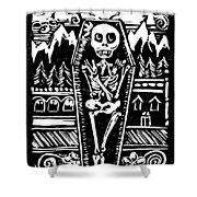 Mountain Town Skeleton Shower Curtain