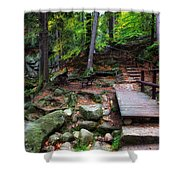 Mountain Trail With Staircase In Autumn Forest Shower Curtain