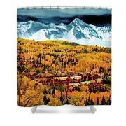 Mountain Village Autumn Shower Curtain