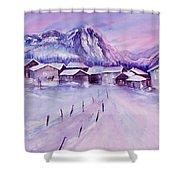 Mountain Village In Snow Shower Curtain