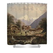 Mountain Village With Alpine Panorama Shower Curtain