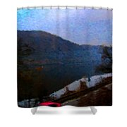 Mountain, Water And Road. Shower Curtain