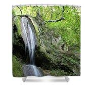 Mountain Waterfall Spring Nature Scene Shower Curtain
