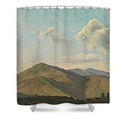 Mountainous Landscape At Vicovaro, Simon Denis Shower Curtain