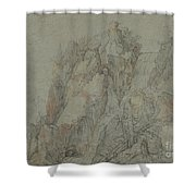 Mountainous Landscape With Castles And Waterfalls Shower Curtain