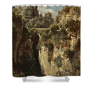 Mountainous Landscape With Waterfall Shower Curtain