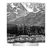Mountains Alaska Bw Shower Curtain