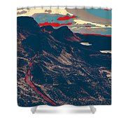 Mountains By Red Road Shower Curtain