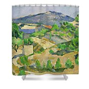 Mountains In Provence Shower Curtain by Paul Cezanne