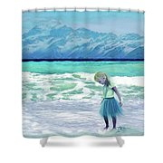 Mountains Ocean With Little Girl  Shower Curtain