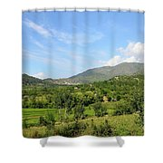 Mountains Sky And Homes In Village Of Swat Valley Khyber Pakhtoonkhwa Pakistan Shower Curtain