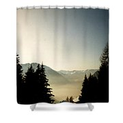 Mountains Through The Trees At Sunrise Shower Curtain