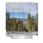 Mountains Through The Trees Shower Curtain