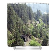 Mountains With Railroad And Tunnels  Shower Curtain