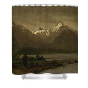 Mountains_and_lake Shower Curtain