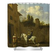 Mounted Trumpeter Taking A Drink Shower Curtain