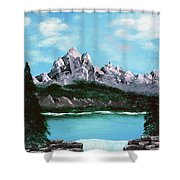 Mountian Waterfall Shower Curtain