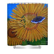Mourning Cloak's Sunflowers Shower Curtain