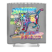Mouse And Cat Friend Shower Curtain