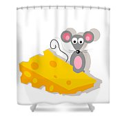 Mouse And Cheese Illustration Shower Curtain