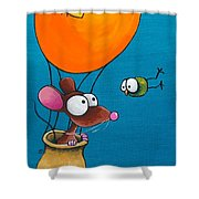 Mouse In His Hot Air Balloon Shower Curtain