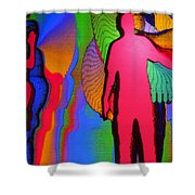 Human Movement In Color Shower Curtain
