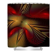 Movement Of Red And Gold Shower Curtain