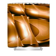 Moveonart Inverted Minimal Wave And Light In Amber Shower Curtain