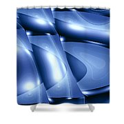 Moveonart Inverted Minimal Wave And Light In Blue Shower Curtain