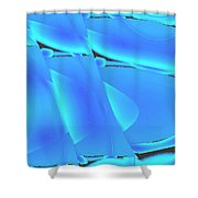 Moveonart Inverted Waves Bubble And Light In Aqua Shower Curtain