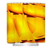 Moveonart Inverted Waves Bubble And Light In Orange Shower Curtain