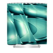 Moveonart Invertes Minimal Wave And Light In Green Shower Curtain